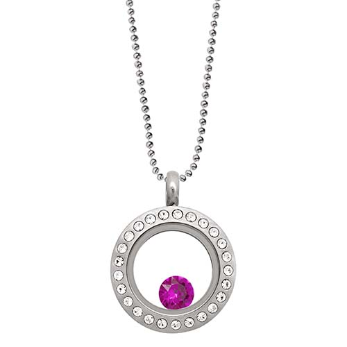 LB1036   July Swarovski Birthstone Silver Mini Living Locket Gift Set